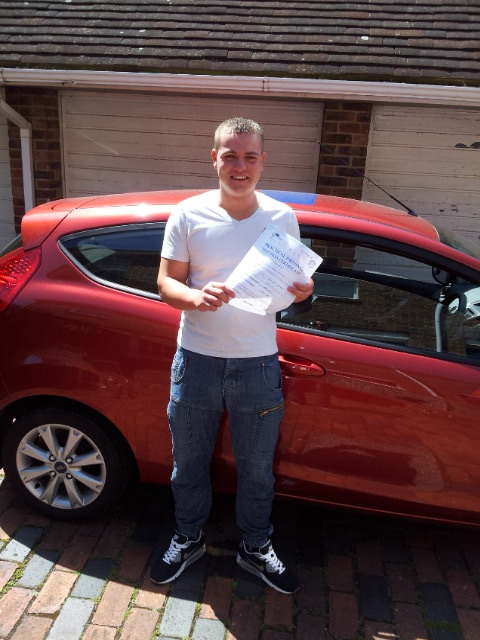 Brad just after passing his practical driving test...first time.